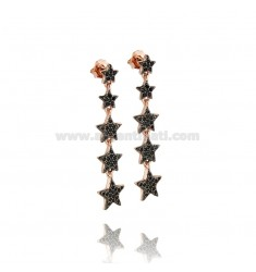 PENDANT EARRINGS WITH 5 DEGRADE STARS IN SILVER ROSE TIT 925 ‰ AND BLACK ZIRCONS