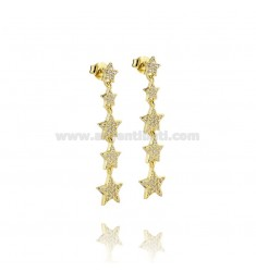 PENDANT EARRINGS WITH 5 DEGRADE STARS IN SILVER GOLDEN TIT 925 ‰ AND WHITE ZIRCONIA