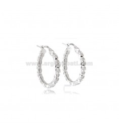 HOOP EARRINGS DIAMETER 20 MM ROUND BARREL 3.5 MM IN ELECTROFUSED AND RHODIUM-PLATED SILVER TIT 925