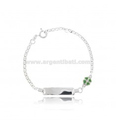 CROSS BRACELET WITH PLATE AND QUADRIFOGLIO IN SILVER RHODIUM-PLATED TIT 925 AND GREEN ENAMEL CM 14-16