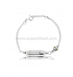 CROSS BRACELET WITH PLATE AND FISH IN SILVER RHODIUM TIT 925 AND GREEN ENAMEL CM 14-16