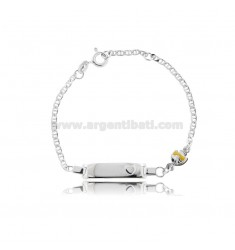CROSS BRACELET WITH PLATE AND FISH IN SILVER RHODIUM TIT 925 AND YELLOW ENAMEL CM 14-16