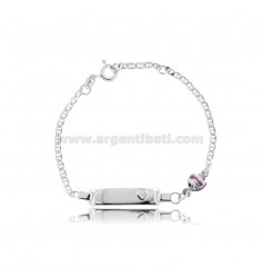 CROSS BRACELET WITH PLATE AND FISH IN SILVER RHODIUM TIT 925 AND FUCHSIA ENAMEL CM 14-16
