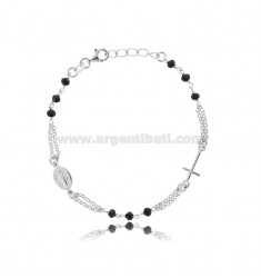 ROUND ROSARY BRACELET WITH BLACK STONES IN SILVER TIT 925 CM 18-22