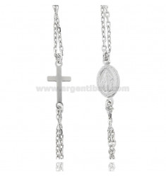 ROSARY CABLE NECKLACE WITH ROUND BALLS 2.5 MM SILVER RHODIUM TIT 925 ‰ CM 43-47