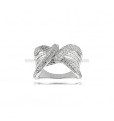 BAND RING IN RHODIUM-PLATED SILVER TIT 925 AND ZIRCONS SIZE 12
