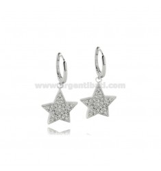 HOOP EARRINGS MM 8 WITH STAR IN SILVER RHODIUM TIT 925 AND ZIRCONS