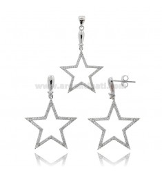 EARRINGS AND STAR PENDANT IN RHODIUM-PLATED SILVER TIT 925 AND ZIRCONS