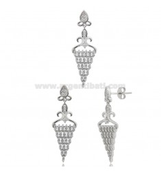 EARRINGS AND CHANDELIER CHANDELIER IN SILVER RHODIUM TIT 925 AND ZIRCONIA