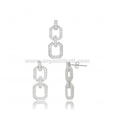EARRINGS AND CHAIN PENDANT IN SILVER RHODIUM-PLATED TIT 925 AND ZIRCONS