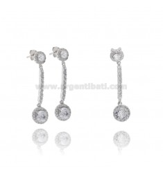 EARRINGS AND MATCH PENDANT IN SILVER RHODIUM-PLATED TIT 925 AND ZIRCONS