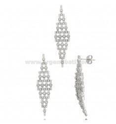 EARRINGS AND RHODIUM-PLATED PENDANT IN SILVER RHODIUM TIT 925 AND ZIRCONS