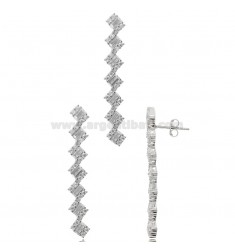 RHODIUM-PLATED EARRINGS AND PENDANT IN SILVER RHODIUM TIT 925 AND ZIRCONS