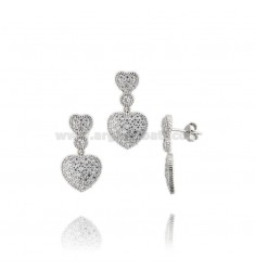 EARRINGS AND HEART PENDANT IN RHODIUM-PLATED SILVER TIT 925 AND ZIRCONS