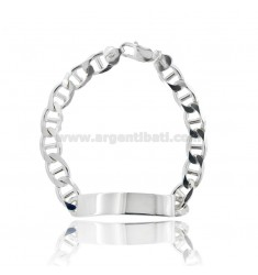 MESH BRACELET WITH PLATE MM 50X9 IN SILVER 925 ‰ CM 21