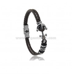 LEATHER BRACELET WITH STAINLESS STEEL ANCHOR AND ANCHOR CM 21