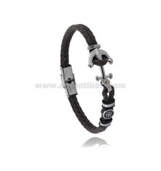 LEATHER BRACELET WITH ANCHOR AND STEEL RUDDER 21 CM