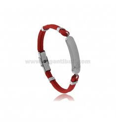 BRACELET WITH PLATE AND STAIN IN STEEL AND ROPE CM 20
