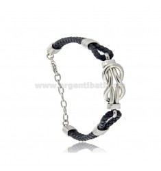 LEATHER BRACELET WITH STEEL KNOT CM 21