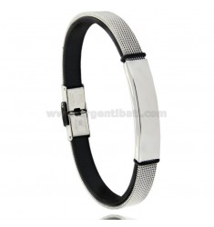 SEMI-RIGID BRACELET WITH STEEL AND LEATHER PLATE
