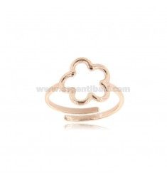 FLOWER CONTOUR RING WITH ROUND WIRE IN ROSE SILVER TIT 925 ADJUSTABLE SIZE