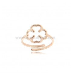 FOUR-LEAF CLOVER RING WITH ROUND WIRE IN ROSE SILVER TIT 925 ADJUSTABLE SIZE