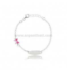 BABY BRACELET WITH PLATE AND BUTTERFLY SILVER RHODIUM TIT 925 AND ENAMEL CM 15-17.5