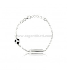BABY BRACELET WITH PLATE AND BALL IN SILVER RHODIUM TIT 925 AND ENAMEL CM 15-17.5