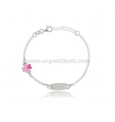 BABY BRACELET WITH PLATE AND FOUR-LEAF CLOVER IN RHODIUM-PLATED SILVER TIT 925 AND ENAMEL CM 15-17.5