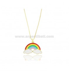VENETIAN NECKLACE CM 40-45 WITH BIG RAINBOW IN SILVER GOLDEN TIT 925 AND ENAMEL