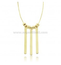 COMPRESSED MOUSE TAIL NECKLACE 43 CM WITH 3 MATCHES 40X4 MM IN SILVER GOLDEN TIT 925 CUSTOMIZABLE WITH ENGRAVING