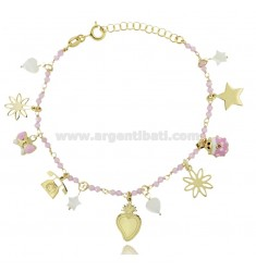 BRACELET WITH STONES AND CHARMS IN GOLD PLATED SILVER TIT 925 ‰ CM 17-19