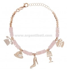 BRACELET WITH STONE WASHERS AND ROSE SILVER CHARMS TIT 925 ‰ CM 17-19