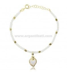 BRACELET WITH CUBES, STONES AND SACRED HEART ENAMELED WHITE IN GOLDEN SILVER TIT 925 ‰ CM 17-19