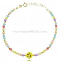 ANKLET WITH SPHERES AND SMILE OF RESIN IN SILVER GOLDEN TIT 925 ‰ CM 17-19