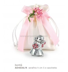 MINI ANGELO BONTA H. CM 5 C/GLITTER ROSA E SACCHETTO