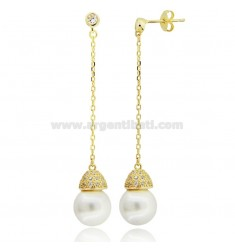 PENDANT EARRINGS WITH GRAY PEARL 10 MM AND WHITE ZIRCONIA IN SILVER GOLDEN TIT 925