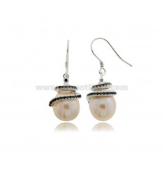 PENDANT EARRINGS WITH NATURAL PEARL MM 8X14 AND BLACK ZIRCONS IN SILVER RHODIUM TIT 925