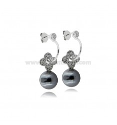PENDANT EARRINGS WITH GRAY PEARL 10 MM AND WHITE ZIRCONIA IN SILVER RHODIUM TIT 925