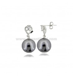 PENDANT EARRINGS WITH GRAY PEARL MM 12 AND ZIRCONS IN RHODIUM-PLATED SILVER TIT 925