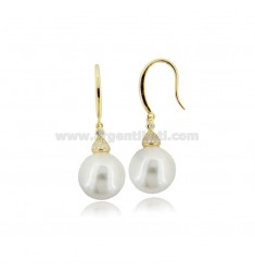 PENDANT EARRINGS WITH PEARL MM 12 AND WHITE ZIRCONIA IN SILVER GOLDEN TIT 925