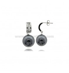 PENDANT EARRINGS WITH GRAY PEARL MM 12 AND WHITE ZIRCONIA IN SILVER RHODIUM TIT 925