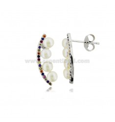 COMMA EARRINGS WITH PEARLS MM 4 AND MULTICOLOR ZIRCONIA IN SILVER RHODIUM TIT 925