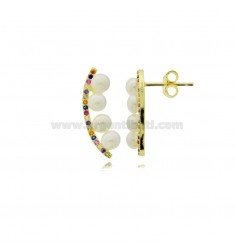 COMMA EARRINGS WITH PEARLS MM 4 AND MULTICOLOR ZIRCONIA IN SILVER GOLDEN TIT 925