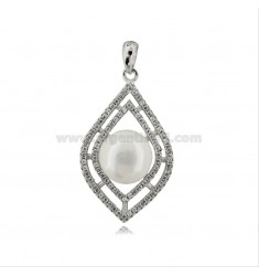 PENDANT WITH PEARL MM 11 AND ZIRCONS IN SILVER RHODIUM TIT 925