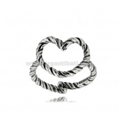 HEART CONTOUR RING A WIRE TWISTED IN SILVER BURNISHED TIT 925 ‰ ADJUSTABLE SIZE 14