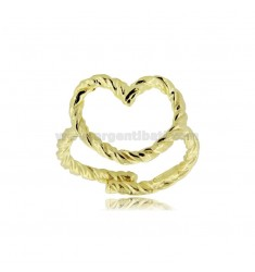 HEART CONTOUR RING A WIRE TWISTED IN SILVER GOLDEN TIT 925 ‰ ADJUSTABLE SIZE FROM 14