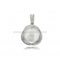 PENDANT WITH PEARL MM 12 AND ZIRCONS IN SILVER RHODIUM TIT 925