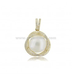 PENDANT WITH PEARL MM 12 AND ZIRCONS IN SILVER GOLDEN TIT 925