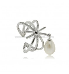 RING WITH PEARL MM 8X7 AND WHITE ZIRCONS IN SILVER RHODIUM TIT 925 ADJUSTABLE SIZE